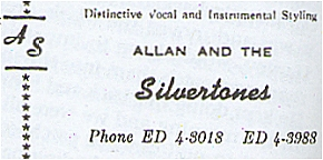 Allan and the Silvertones Business Card