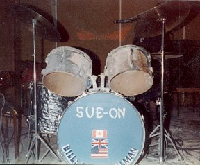 November 1980: Burned out drums from stage fire at Brunkild