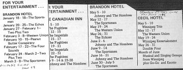 Brandon Visitor's Guide: January and June 1969: Band Schedules