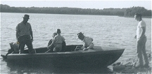 Fishing: Dad, Jim and Ian Grant, Grampa Hillman, Bill