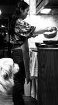 At home in the kitchen - Mya, the Great Pyrenees looks on