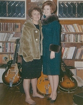 mid '60s - Harmony Monterey on display with my first Gretsches, mother and sister