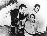 Johnny Cash (r) with Jerry Lee, Carl, Elvis in Sun Studios