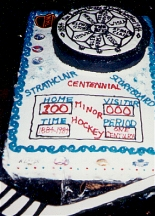 Strathclair Centennial Cake with Official Logo and Hockey Theme