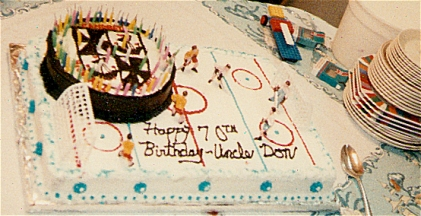 70th Birthday with Campbell Crest and Hockey Ice